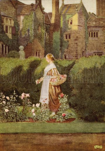 There is a garden in her face. Illustration for The Golden Treasury selected by Francis Turner Palgrave, illustrated by Eleanor Fortescue-Brickdale (Hodder and Stoughton, c 1920).