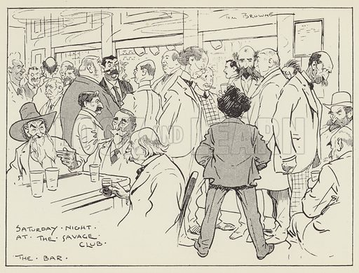 Saturday Night at the Savage Club, The Bar. Illustration for The Night Side of London by Robert Machray (John Macqueen, 1902).