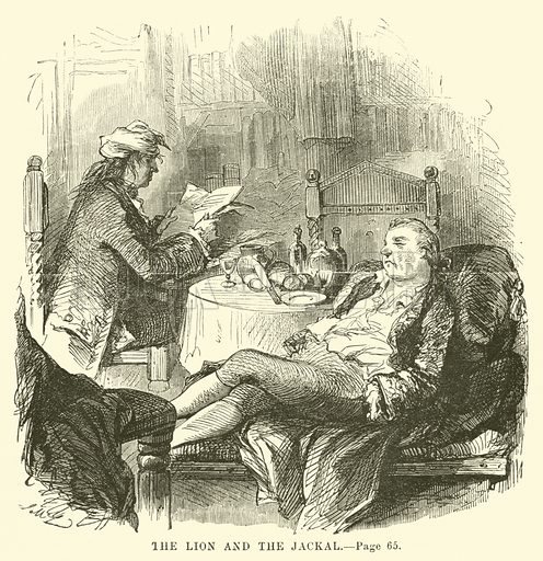 The lion and the jackal. Illustration for A Tale of Two Cities by Charles Dickens (T B Peterson, 1859).