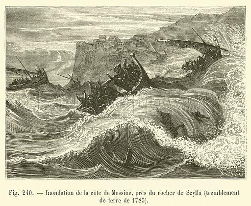 Inondation de la cote de Messine, pres du rocher de Scylla, tremblement de terre de 1783