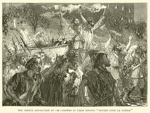 """The French Revolution of 1848, Crowds in Paris singing """"Mourir pour la Patrie."""" Illustration for The Life of William Ewart Gladstone by George Barnett Smith (Cassell, c 1890)."""
