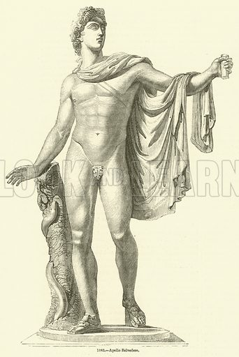 Apollo Belvedere. Illustration for The Pictorial Sunday Book by John Kitto (George Cox, 1853).