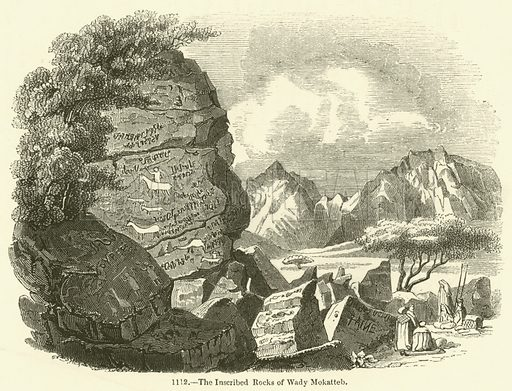 The Inscribed Rocks of Wady Mokatteb. Illustration for The Pictorial Sunday Book by John Kitto (George Cox, 1853).
