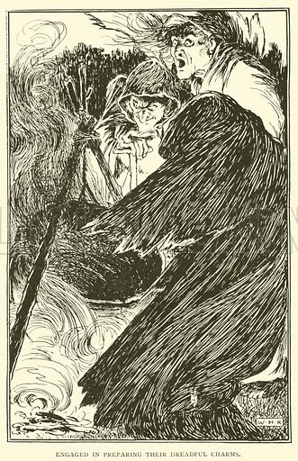 Engaged in preparing their dreadful charms. Illustration for Tales from Shakespeare by Charles Lamb with illustrations by W H Robinson (Sands, c 1902).