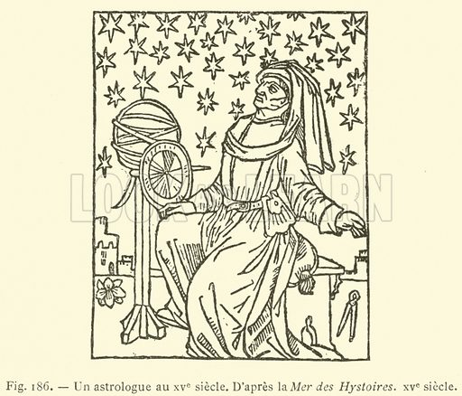Un astrologue au XVe siecle. Illustration for L'Ecole et La Science Jusqu'a La Renaissance (Firmin-Didot, 1893).