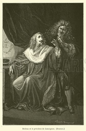 Boileau et le president de Lamoignon, Boileau. Illustration for Le Tresor Litteraire de la France (Hachette, 1866).