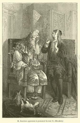 M Jourdain apprenant a prononcer la voix U, Moliere. Illustration for Le Tresor Litteraire de la France (Hachette, 1866).