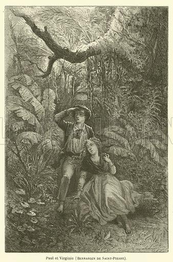 Paul et Virginie, Bernardin de Saint-Pierre. Illustration for Le Tresor Litteraire de la France (Hachette, 1866).