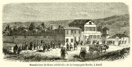 Manufacture de fleurs artificielles de la Compagnie florale, a Rueil. Illustration for L'Illustration, Journal Universel, 14 February 1857.