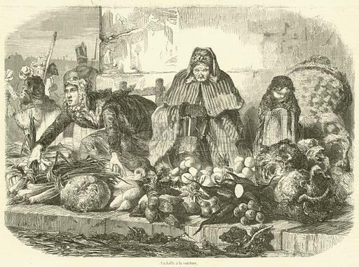 La halle a la verdure. Illustration for L'Illustration, Journal Universel, 22 March 1856.
