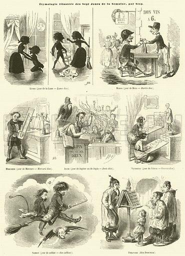 Etymologie illustree des Sept Jours de la Semaine. Illustration for L'Illustration, Journal Universel, 30 March 1850.