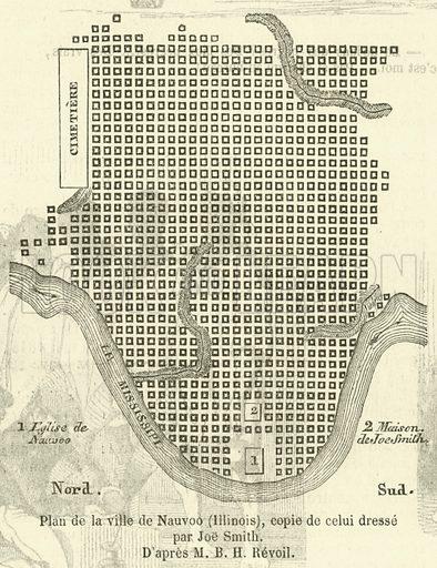 Plan de la ville de Nauvoo (Illinois), copie de celui dresse par Joe Smith. Illustration for L'Illustration, Journal Universel, 20 April 1850.