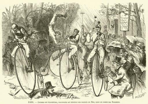 Paris, Courses de velocipedes, organisees au benefice des inondes du Midi, dans le jardin des Tuileries