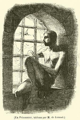 Un Prisonnier, tableau par M de Lemud. Illustration for L'Illustration, Journal Universel, 16 March 1844.