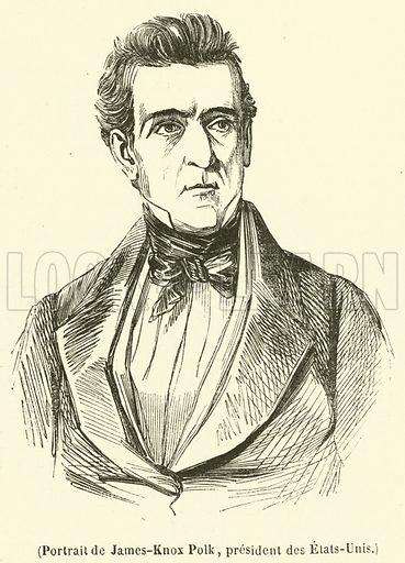 Portrait de James-Knox Polk, president des Etats-Unis. Illustration for L'Illustration, Journal Universel, 7 December 1844.
