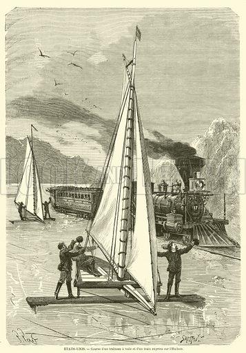 Etats-Unis, Course d'un traineau a voile et d'un train express sur l'Hudson. Illustration for L'Illustration, Journal Universel, 13 January 1872.