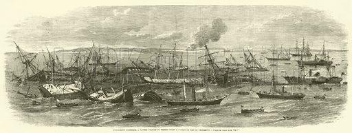 Evenements d'Amerique, Navires charges de pierres coules a l'entree du port de Charleston. Illustration for L'Illustration, Journal Universel, 8 February 1862.