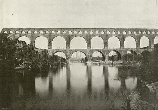 Le Pont du Gard. Illustration for Album National (Boulanger, c 1900).