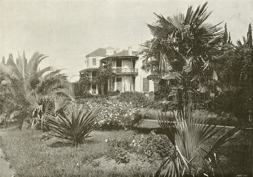 Un Jardin a Cannes. Illustration for Album National (Boulanger, c 1900).