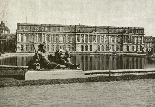 Palais de Versailles, Facade sur les Jardins. Illustration for Album National (Boulanger, c 1900).