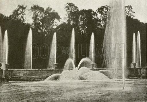 Versailles, Bassin de Neptune. Illustration for Album National (Boulanger, c 1900).