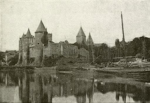 Josselin, Chateau, Ensemble. Illustration for Album National (Boulanger, c 1900).