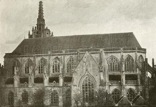 Argentan, Eglise Saint-Martin. Illustration for Album National (Boulanger, c 1900).