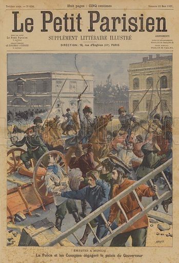 Riots in Moscow. Police and Cossacks clearing the area in front of the Governor-General's Palace. Emeutes A Moscou, La Police et les Cosaques degagent le palais du Gouverneur. Illustration for Le Petit Parisien (Supplement Litteraire Illustre), 31 March 1901.