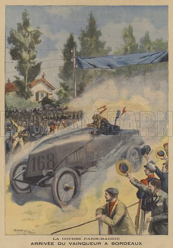 The Paris-Madrid motor race. The arrival of the winning car, a Mors, driven by Fernand Gabriel on Michelin tyres, at Bordeaux. The race was terminated at Bordeaux after the French parliament objected to the number of accidents, some involving spectators. Arrivee Du Vainqueur A Bordeaux, La Course Paris-Madrid. Illustration for Le Petit Parisien (Supplement Litteraire Illustre), 7 June 1903.