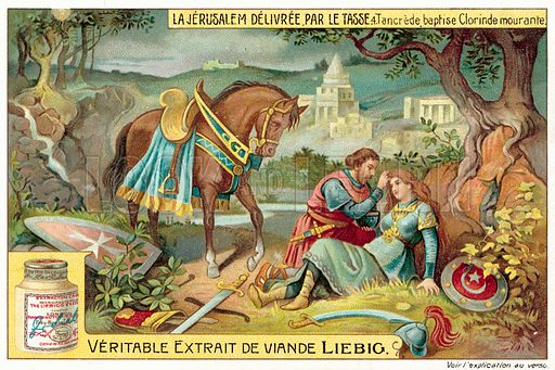 Tancredi baptises the dying Clorinda. Liebig card, published in late 19th or early 20th century. From a series depicting scenes from Torquato Tasso's epic poem Jerusalem Delivered.