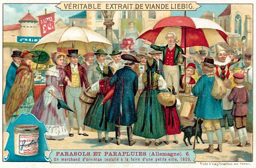 A quack medicine seller at a fair in a small town in Germany, 1820. Liebig card, published in late 19th or early 20th century. From a series on umbrellas and parasols.