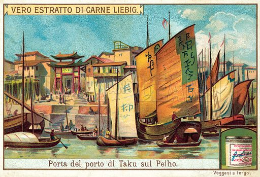 Gate of the port of Taku on the Peiho River. Liebig card, published early 20th century. From a series on China.