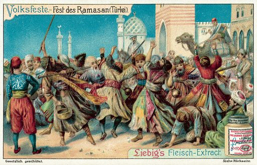 Celebrating Ramadan, Turkey. Liebig card, published in late 19th or early 20th century. From a series on festivals and carnivals.