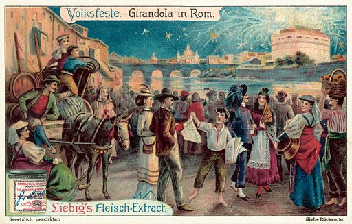 Firework display in Rome. Liebig card, published in late 19th or early 20th century. From a series on festivals and carnivals.