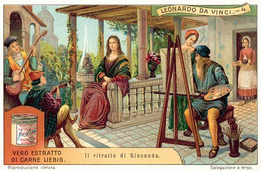 Leonardo da Vinci painting the Mona Lisa. Liebig card, published in late 19th or early 20th century. From a series on the life and works of Leonardo da Vinci.