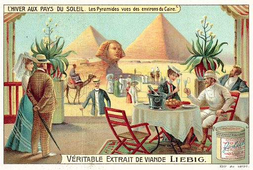 The Pyramids viewed from the outskirts of Cairo. Liebig card, published in late 19th or early 20th century.