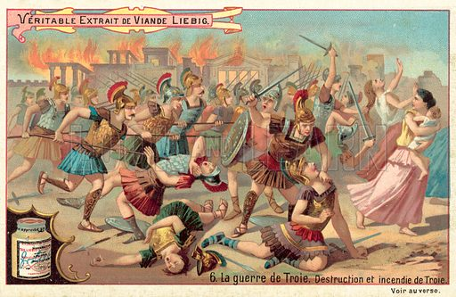 The destruction and burning of Troy. Liebig card, published in late 19th or early 20th century. From a series on the Trojan War.