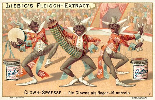 Clowns blacked up as minstrels. Liebig card, published in late 19th or early 20th century. From a series on clowns.