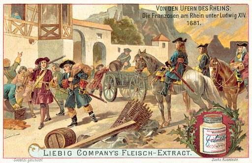 The French Army under Louis XIV on the Rhine, 1681. Liebig card, published in late 19th or early 20th century. From a series on events on the banks of the Rhine in history.