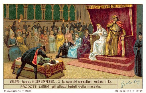 Claudius reacting to the scene depicting the murder of the Player King. Liebig card, published in late 19th or early 20th century. From a series depicting scenes from Shakespeare