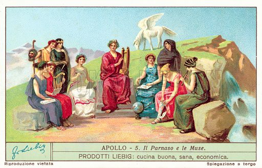 The Muses on Mount Parnassus. Liebig card, published in late 19th or early 20th century. From a series on the Ancient Greek god Apollo.