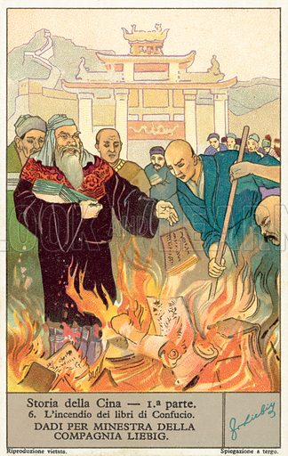 The burning of the books of Confucius. Liebig card, published in late 19th or early 20th century. From a series on the ancient history of China.