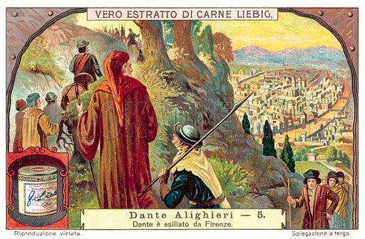 Dante exiled from Florence. Liebig card, published in late 19th or early 20th century. From a series on the life of Dante Alighieri.
