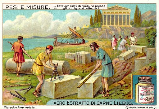 Ancient Greek stonemasons using measuring instruments. Liebig card, published in late 19th or early 20th century. From a series on weights and measures.