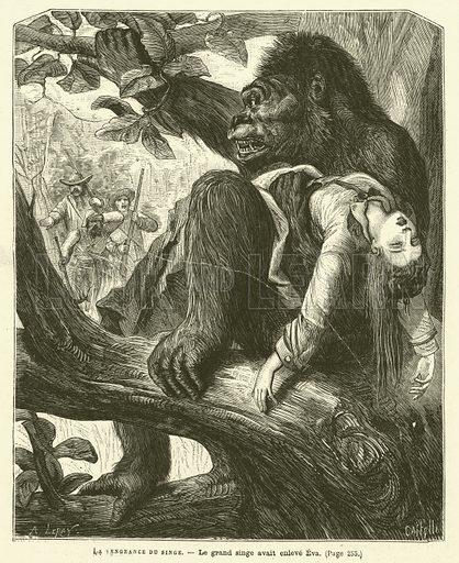 La Vengeance Du Singe. Illustration for Journal Des Voyages.
