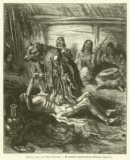 Voyage Chez Les Tetes-Plates. Illustration for Journal Des Voyages, 3 August 1879.