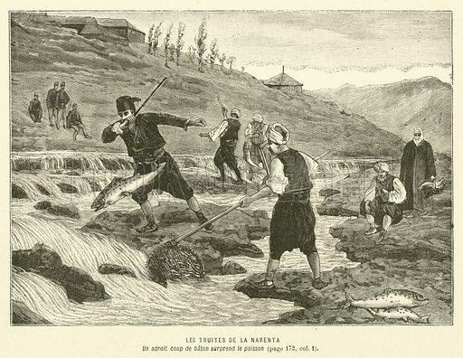Les Truites De La Narenta. Illustration for Journal Des Voyages, 12 March 1893.