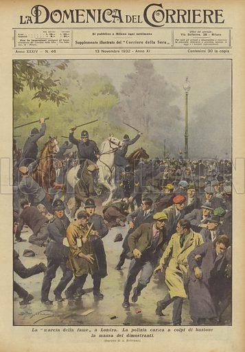 La marcia della fame a Londra. La polizia carica a colpi di bastone la massa dei dimostranti. Illustration for La Domenica Del Corriere, 13 November 1932.