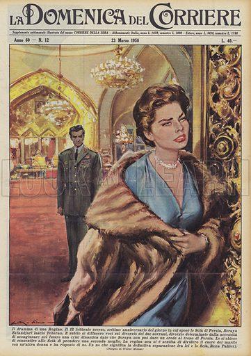 Il dramma di una Regina. Il 12 febbraio scorso, settimo anniversario del giorno in cui sposo lo Scia di Persia, Soraya Esfandjari lascio Teheran. E subito si diffusero voci sul divorzio dei due sovrani, divorzio determinato dalla necessita di scongiurare nel futuro una crisi dinastica dato che Soraya non puo dare un erede al trono di Persia. Le si chiese di consentire allo Scia di prendere una seconda moglie. La regina non si e sentita di dividere il cuore del marito con un'altra donna e ha risposto di no. Un no che significa la definitiva separazione fra lei e lo Scia, Reza Pahlevi. Illustration for La Domenica Del Corriere, 23 March 1958.