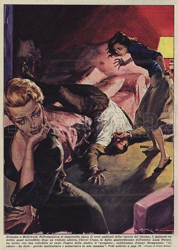 Dramma a Hollywood. Nell'atmosfera di immoralita tipica di certi ambienti della mecca del cinema e maturato un delitto quasi incredibile. Dopo un violento alterco, Cheryl Crane, la figlia quattordicenne dell'attrice Lana Turner, ha ucciso con una coltellata al cuore l'amico della madre, il gangster californiano Johnny Stompanato. Lo odiavo - ha detto - perche maltrattava e minacciava la mia mamma. Illustration for La Domenica Del Corriere, 20 April 1958.